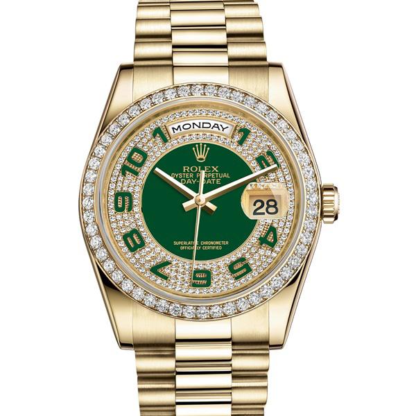 Đồng hồ nam Rolex Day-Date 118348 Mặt số xanh lá