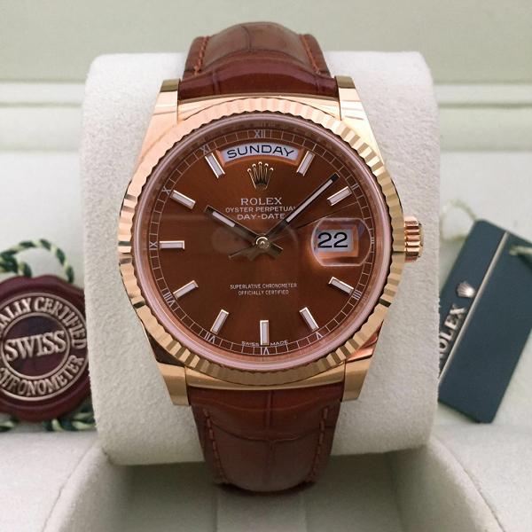 Đồng hồ nam dây da Rolex Automatic 118138